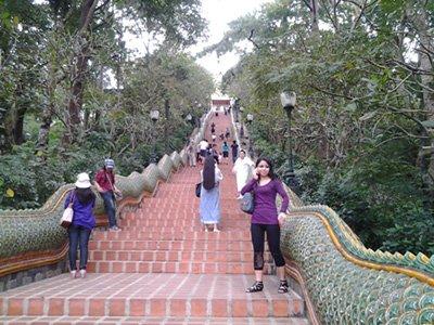 Bottom of the Naga staircase at Wat Doi Suthep