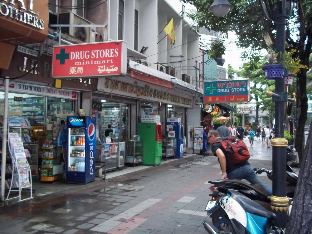 Rolling tobacco is sold at the Charoen Pharmacy