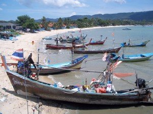 Fishing boats on Bangrak beach in Koh Samui