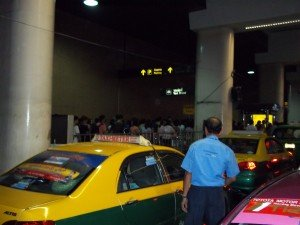 Public Taxi queue at Bangkok's Don Mueang Airport