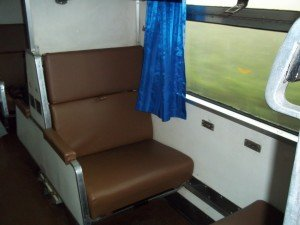 2nd Class sleeper seats on Thai train converts into beds at night