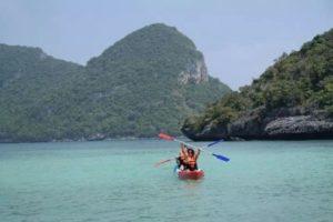 Kayaking off Koh Tao