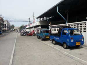 Motorbike taxis and tuks outside Hat Yai Bus Station