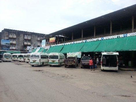 Minivans at Talad Kaset 2 bus station in Surat Thani