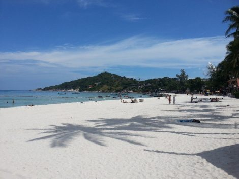 Beach in Haad Rin where the Full Moon Party happens every month.