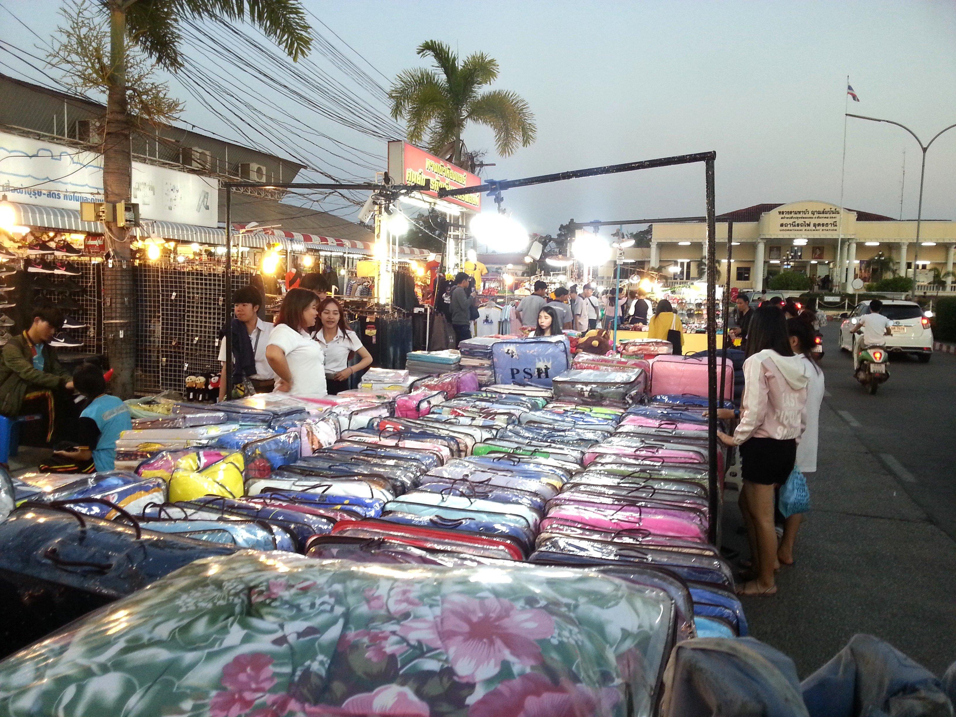 Duvet stall at Udon Thani Night Market