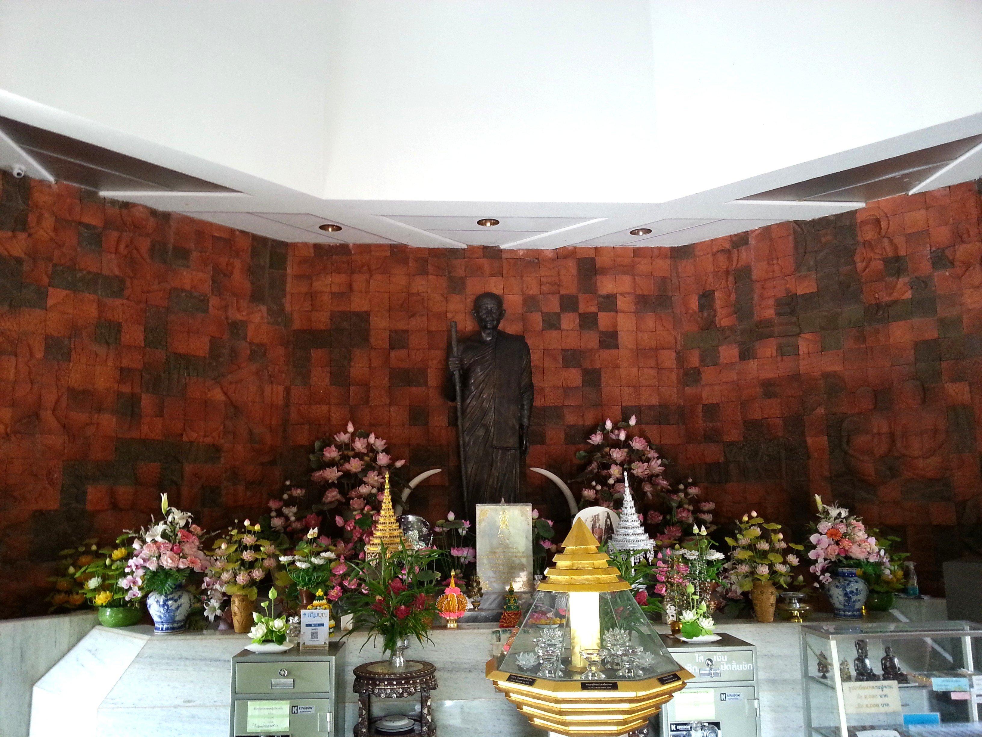 Ajahn Juan statue and relics at Wat Phu Tok