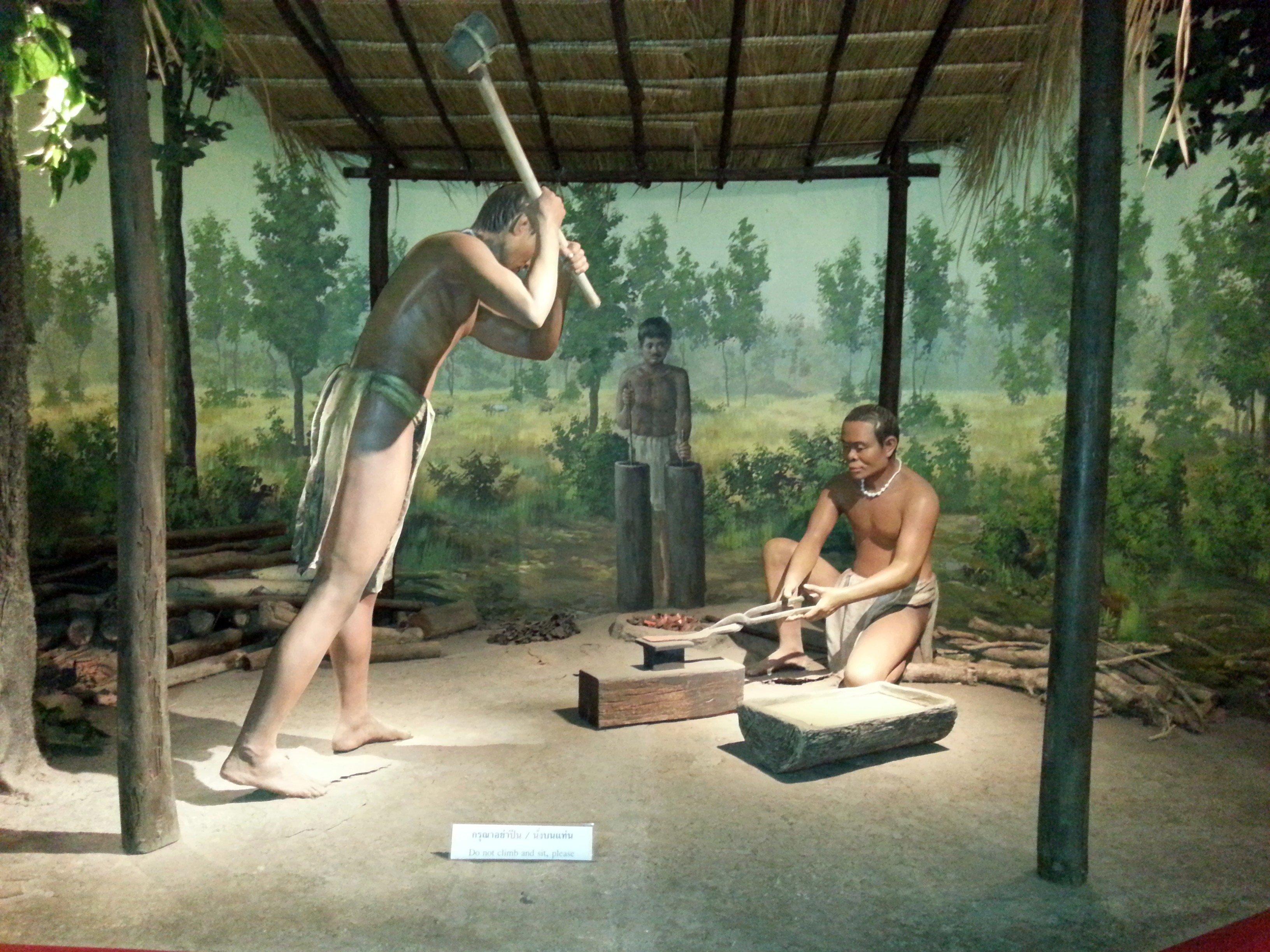 Diorama showing iron making at Ban Chiang