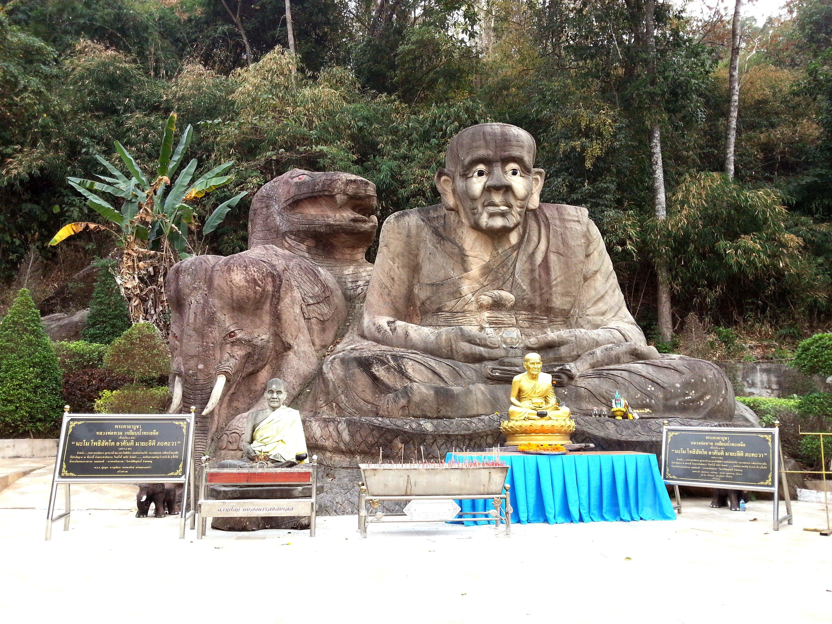 Monk carving at Wat Tham Pha Daen