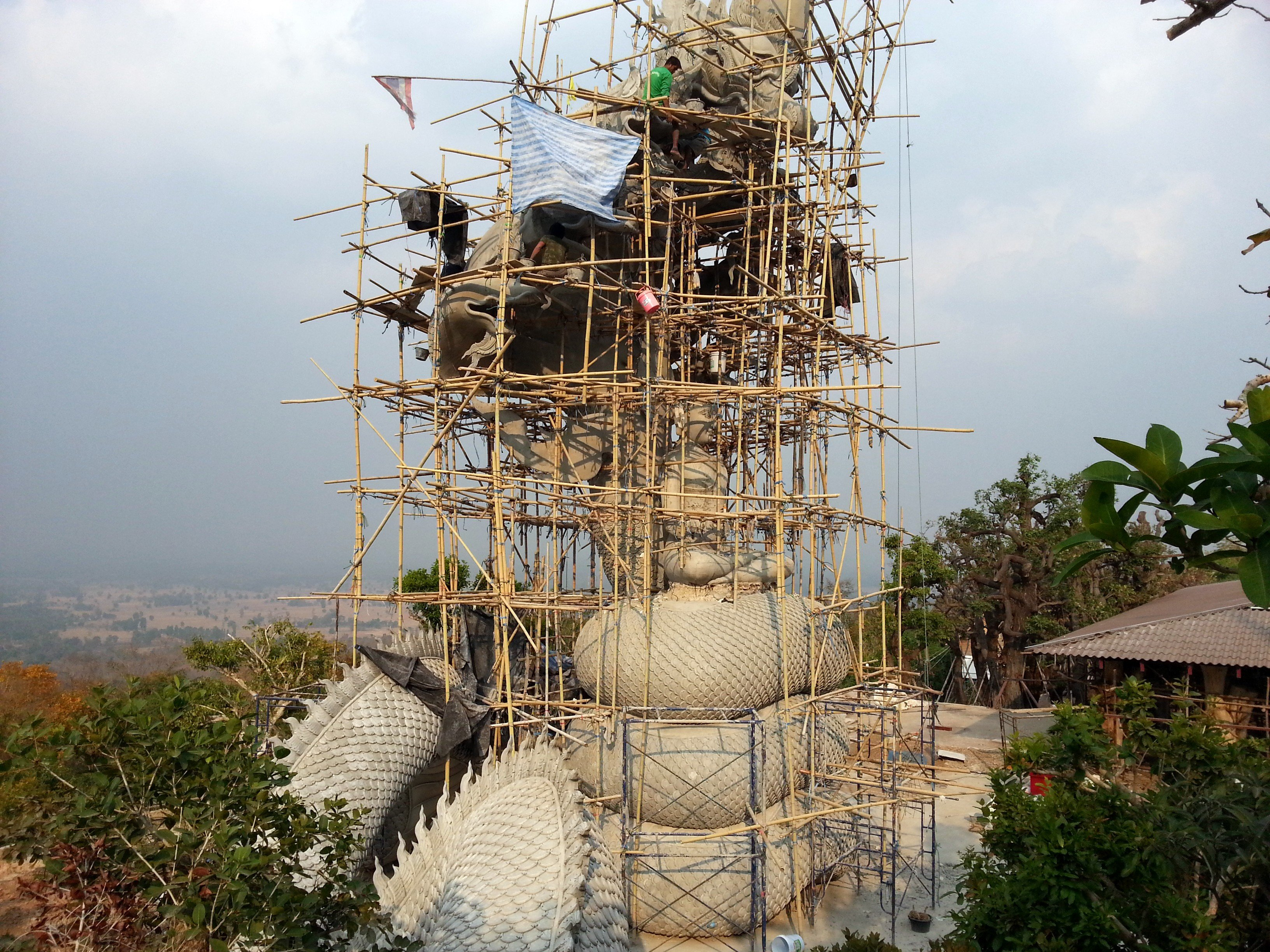 Statue under construction at Wat Tham Pha Daen