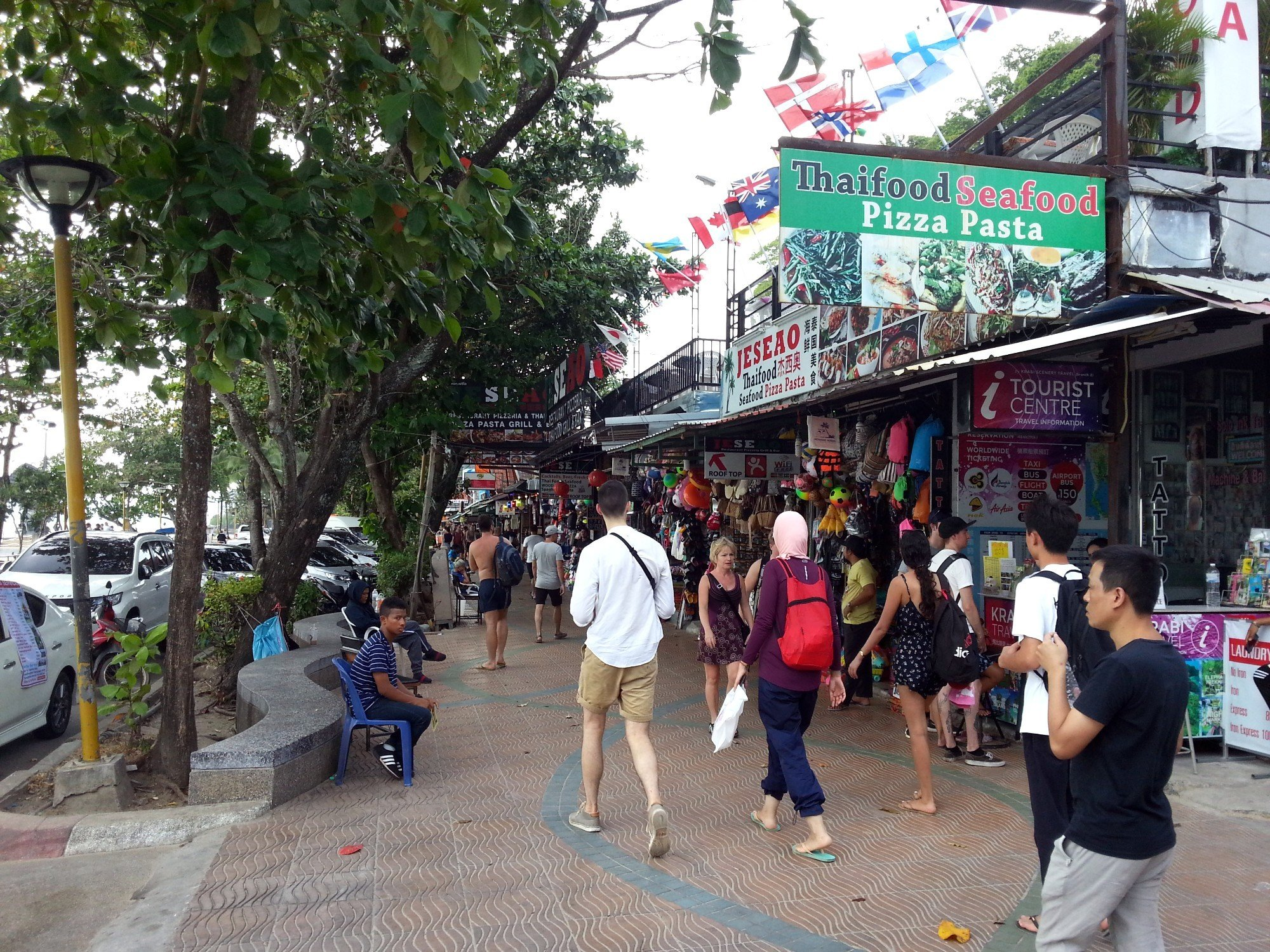 Busy street in front of Ao Nang Beach