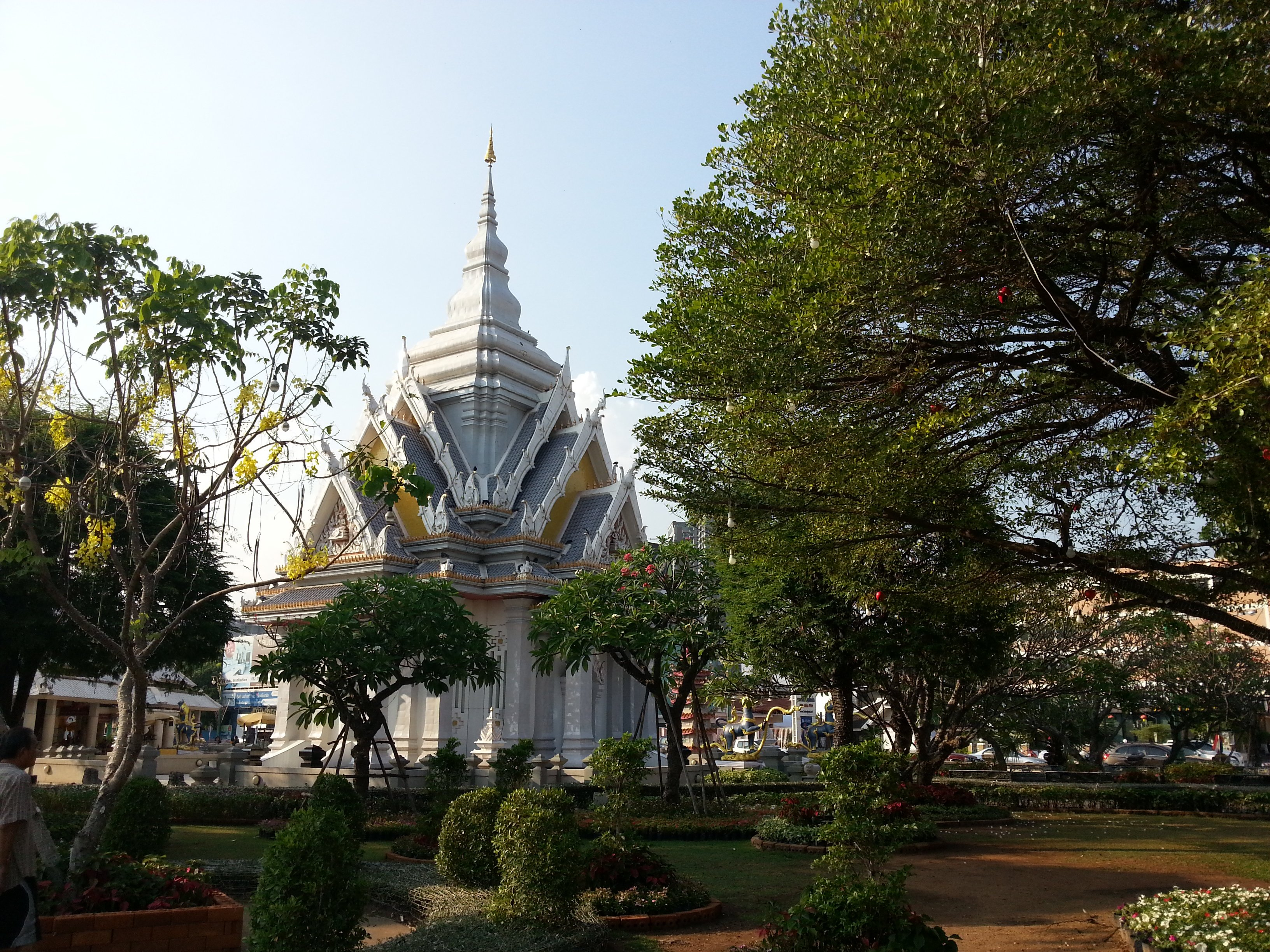 Khon Kaen's City Pillar Shrine is located in a small park