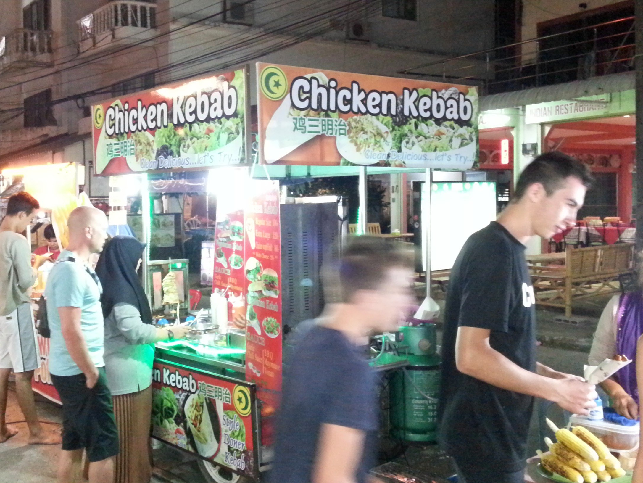 One of the many kebab shops at Saladan Walking Street