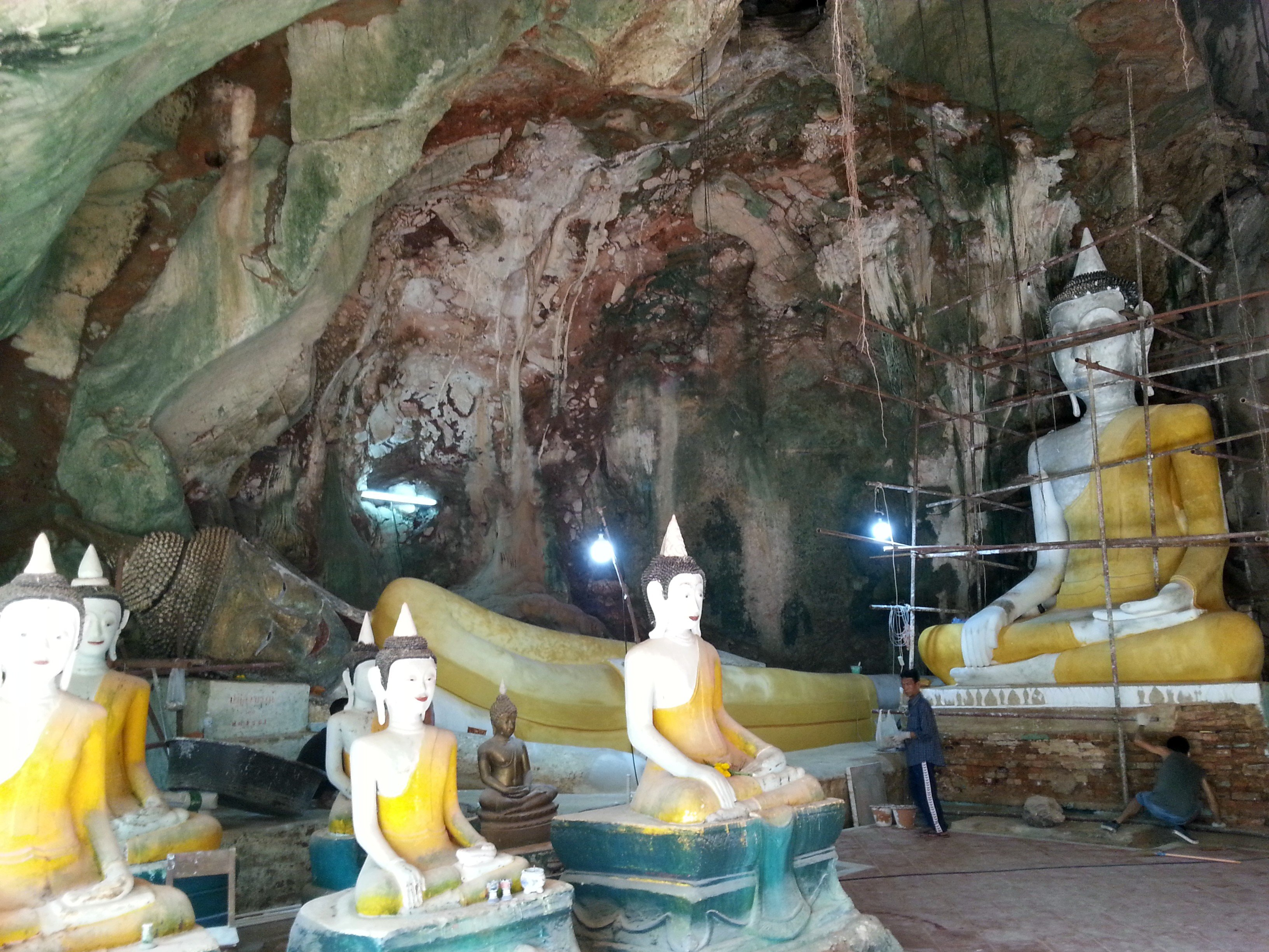 Repair work being done in Khuha Sawan Cave