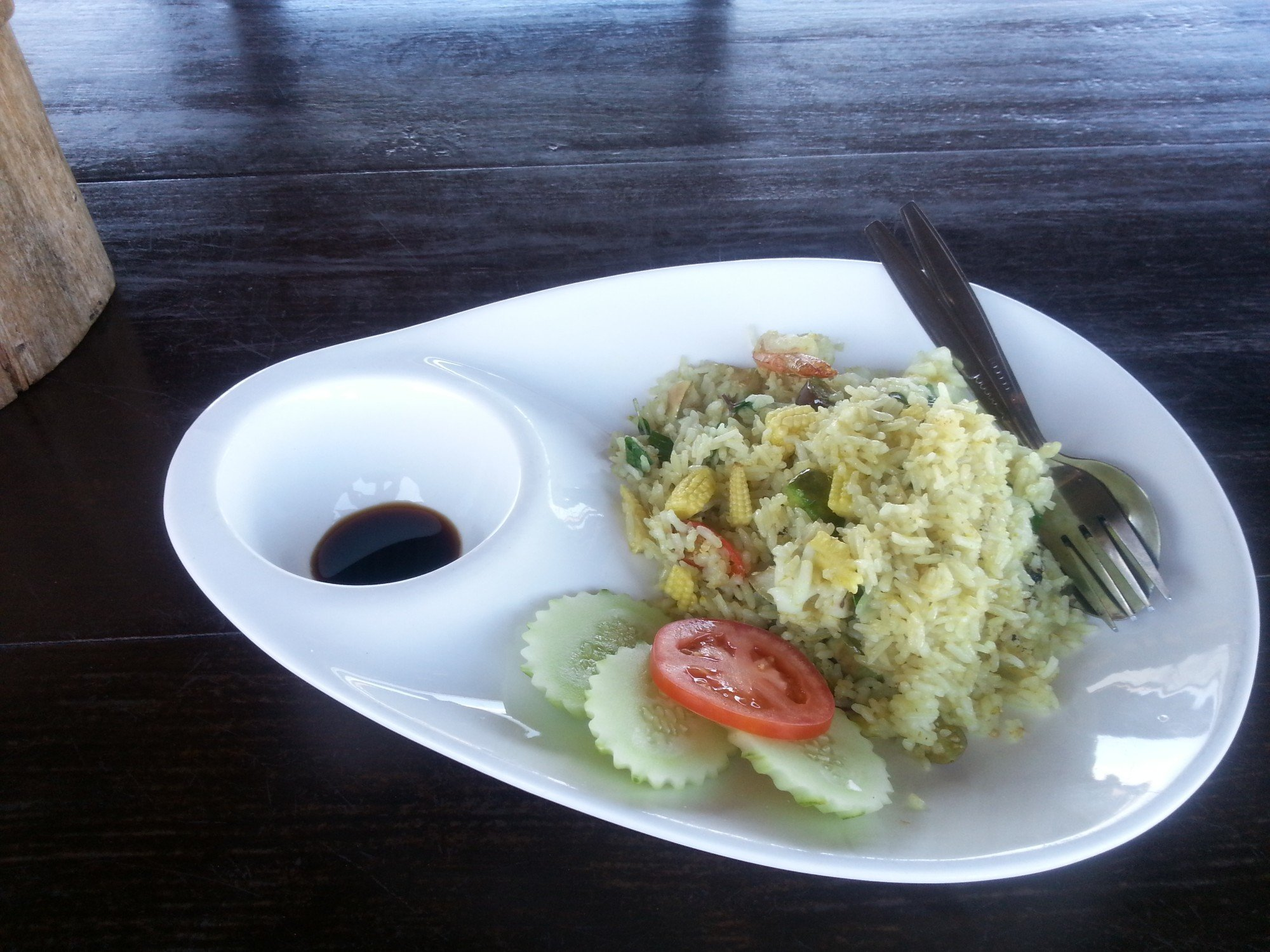 Rice fried with green curry at Rareview Restaurant