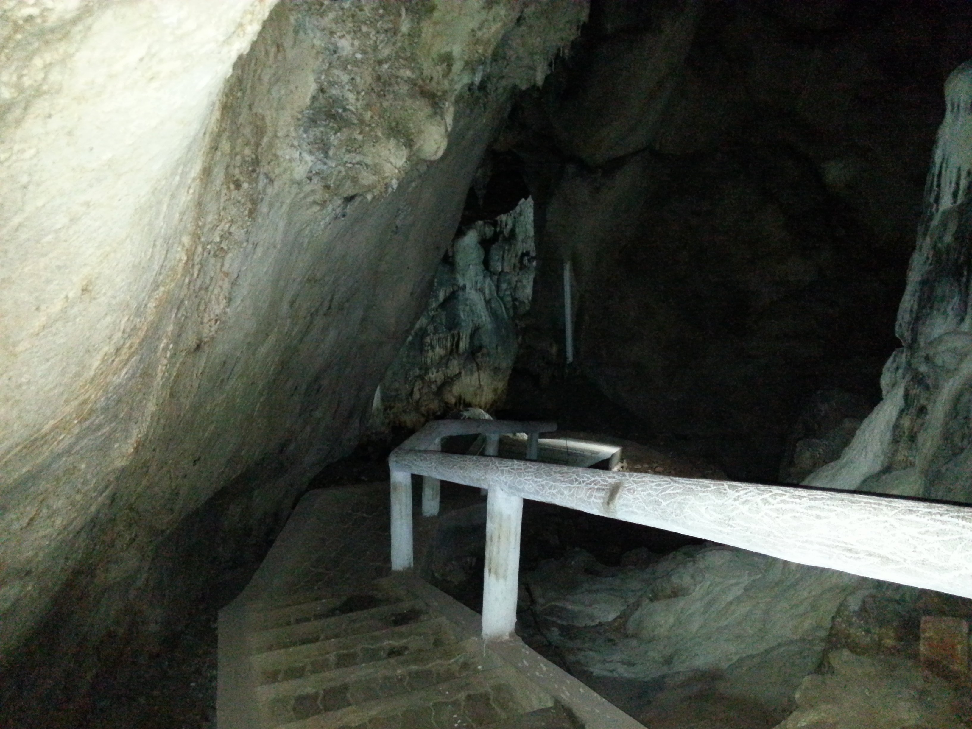Stairs to the lower levels of Khuha Sawan Cave