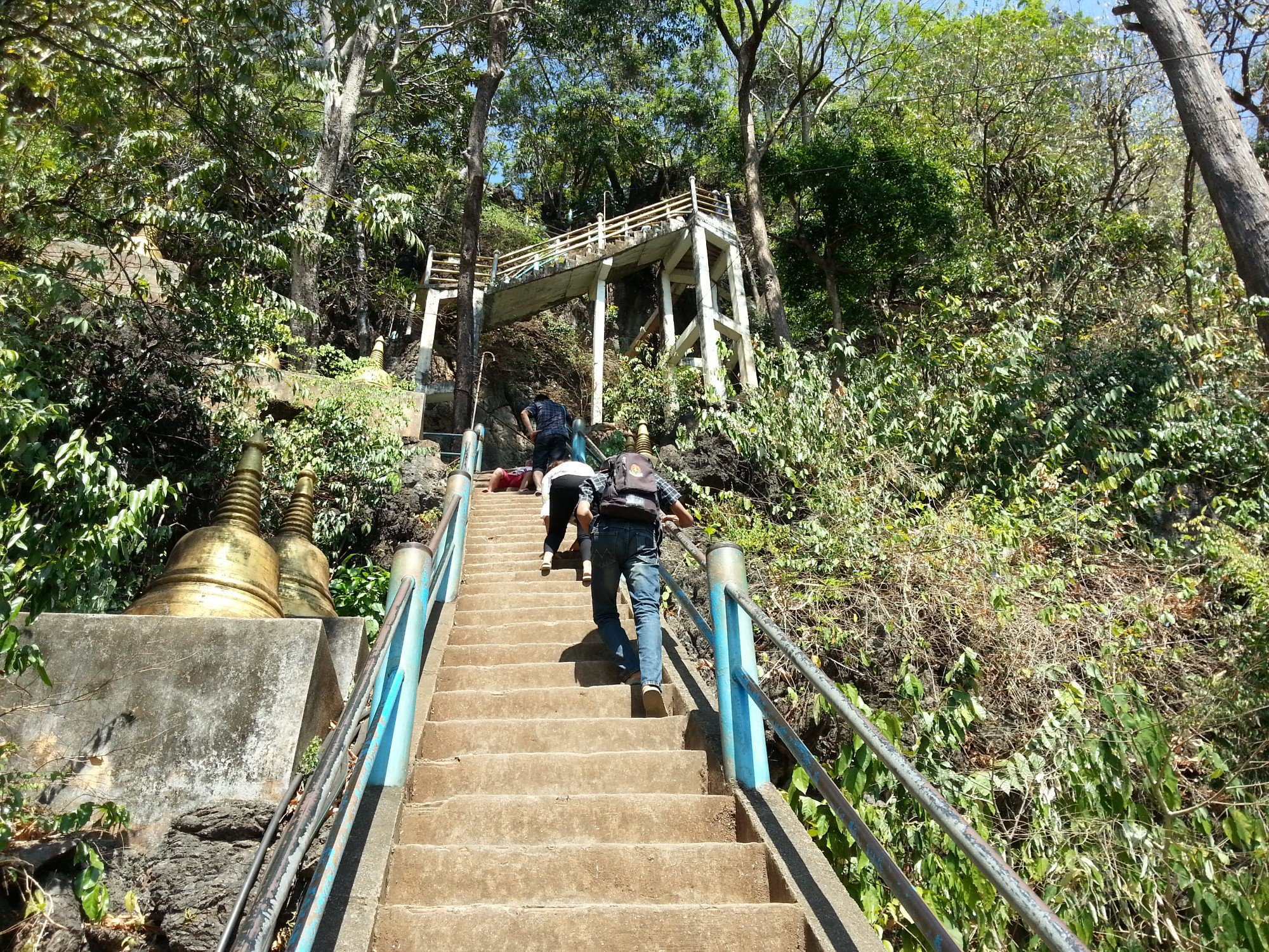 Stairs up the mountain at Wat Tham Suea