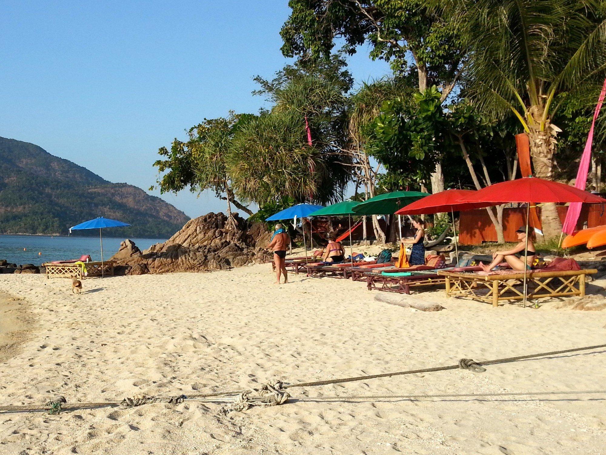 The sun loungers belong to the Pitiusas Beach Resort