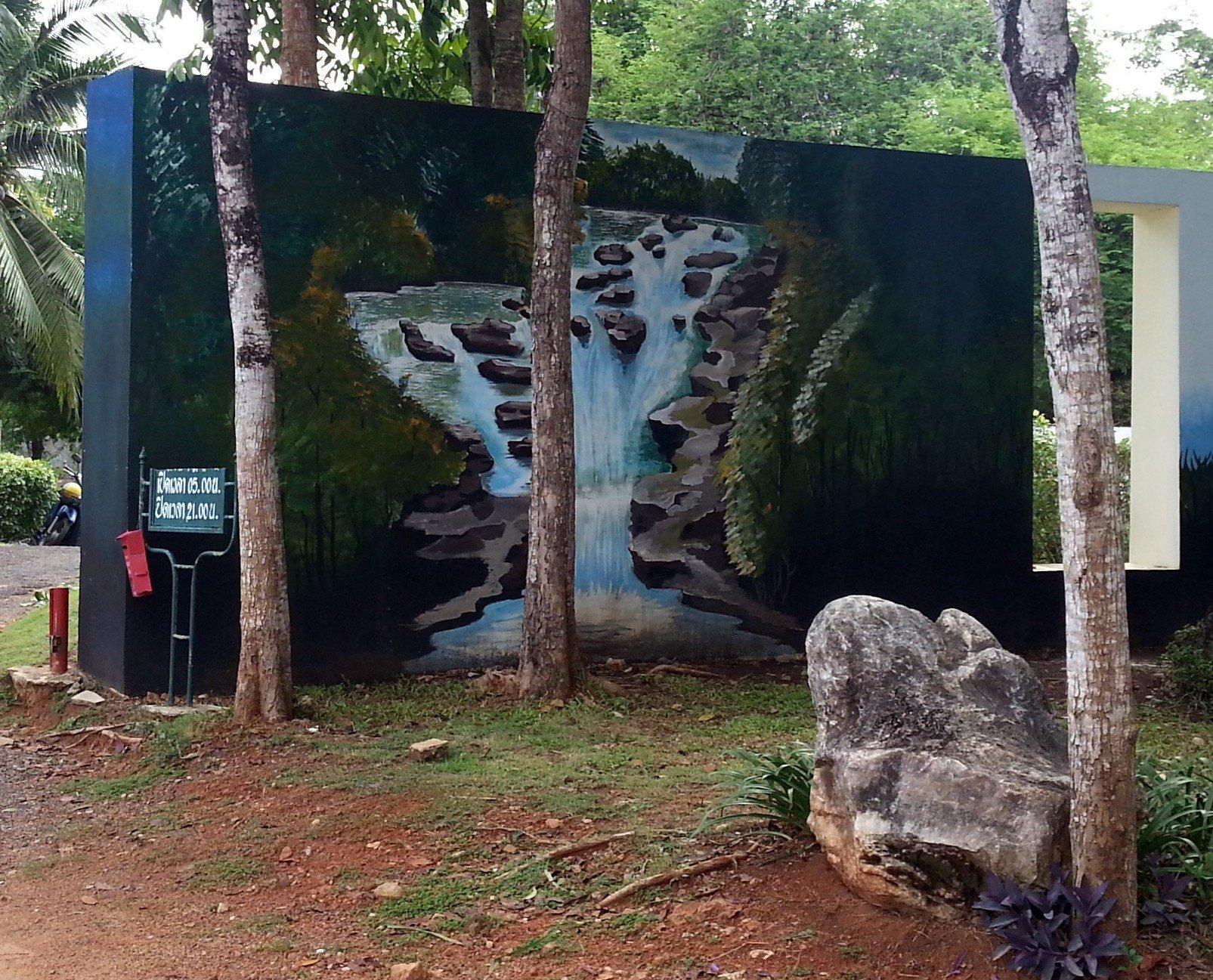 Mural of Ton Te Waterfall in Trang Province