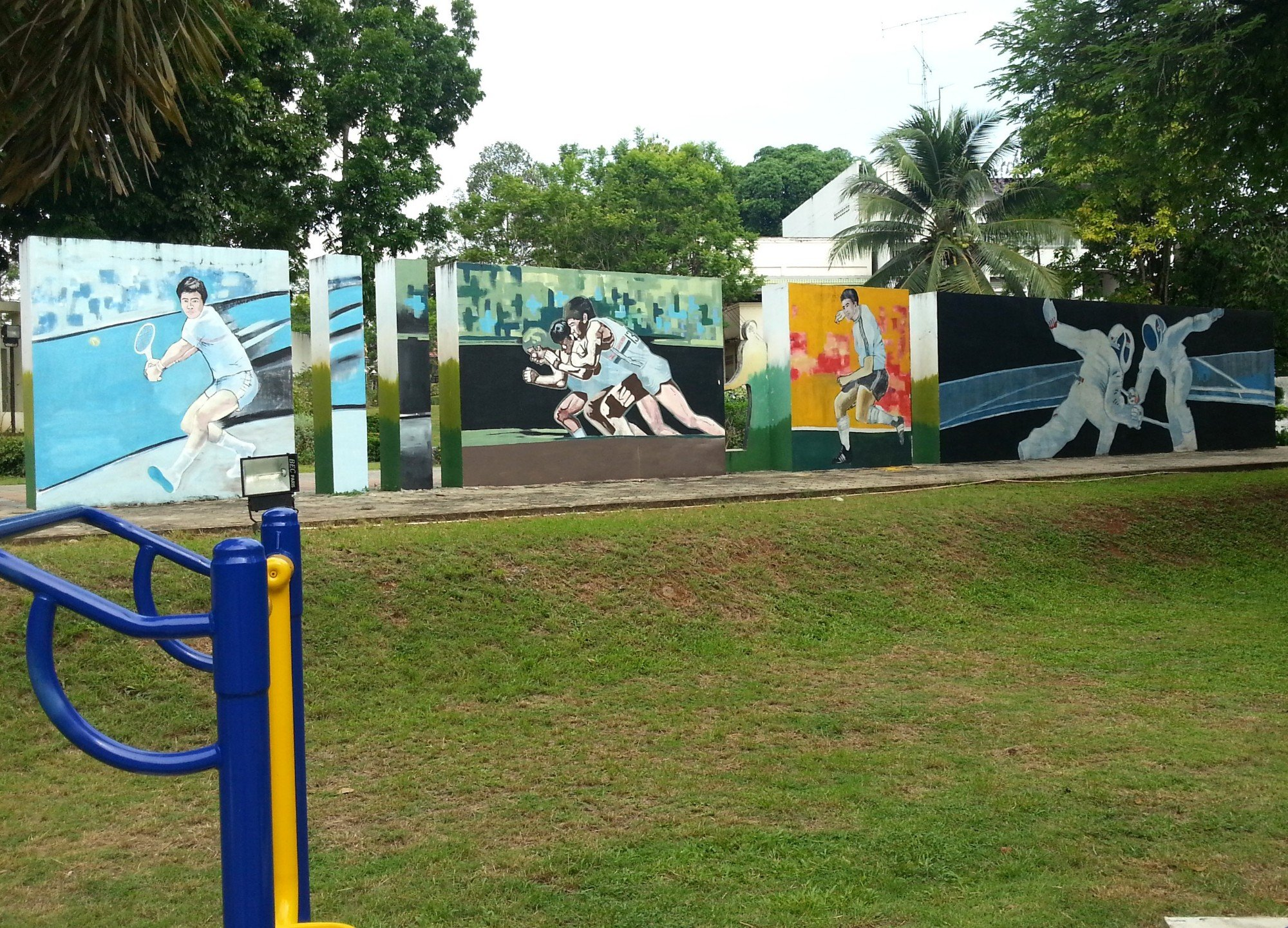 Sporting murals in Trang Town Park