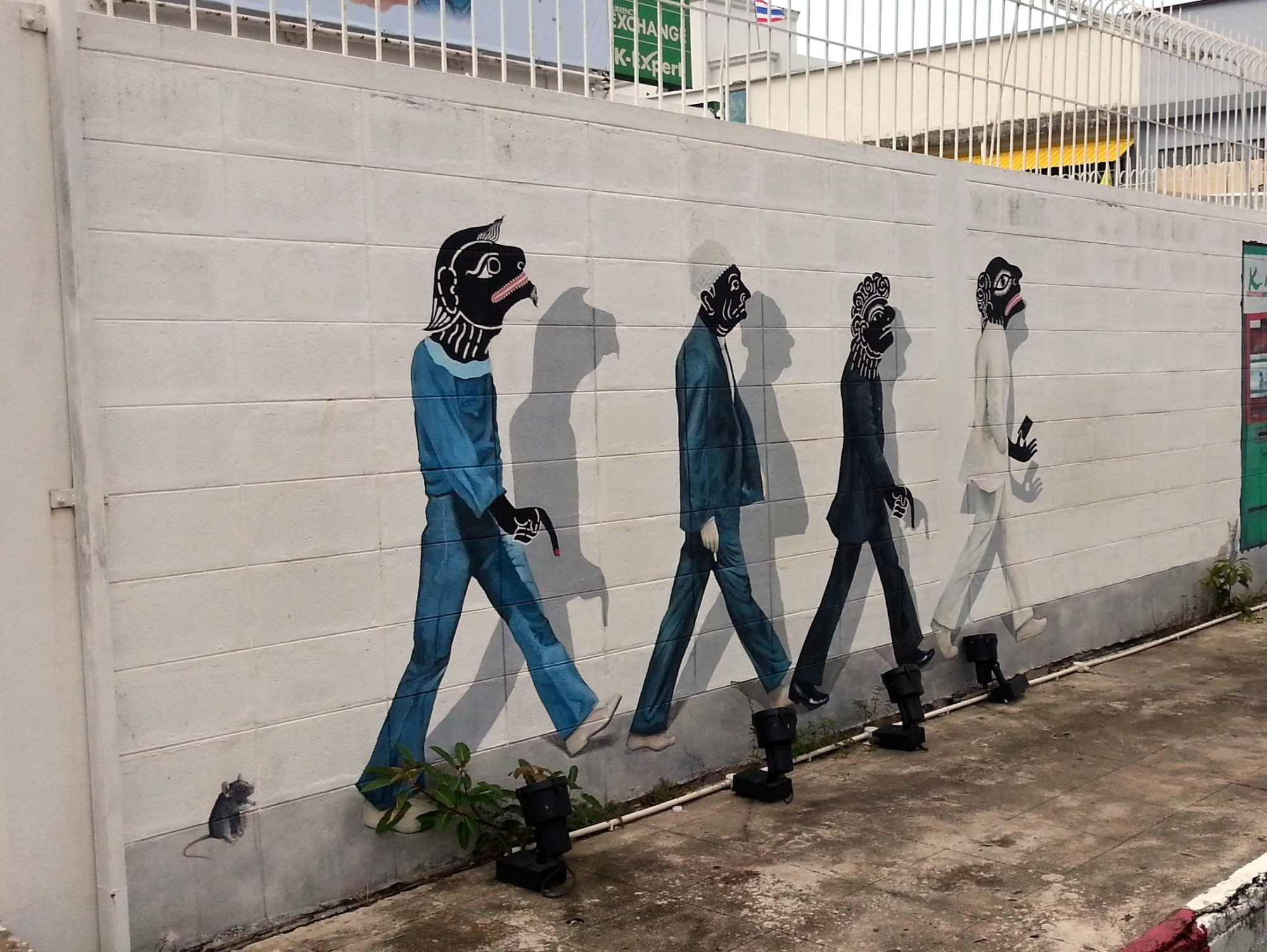 Nang Talung Characters in Suits mural in Songkhla