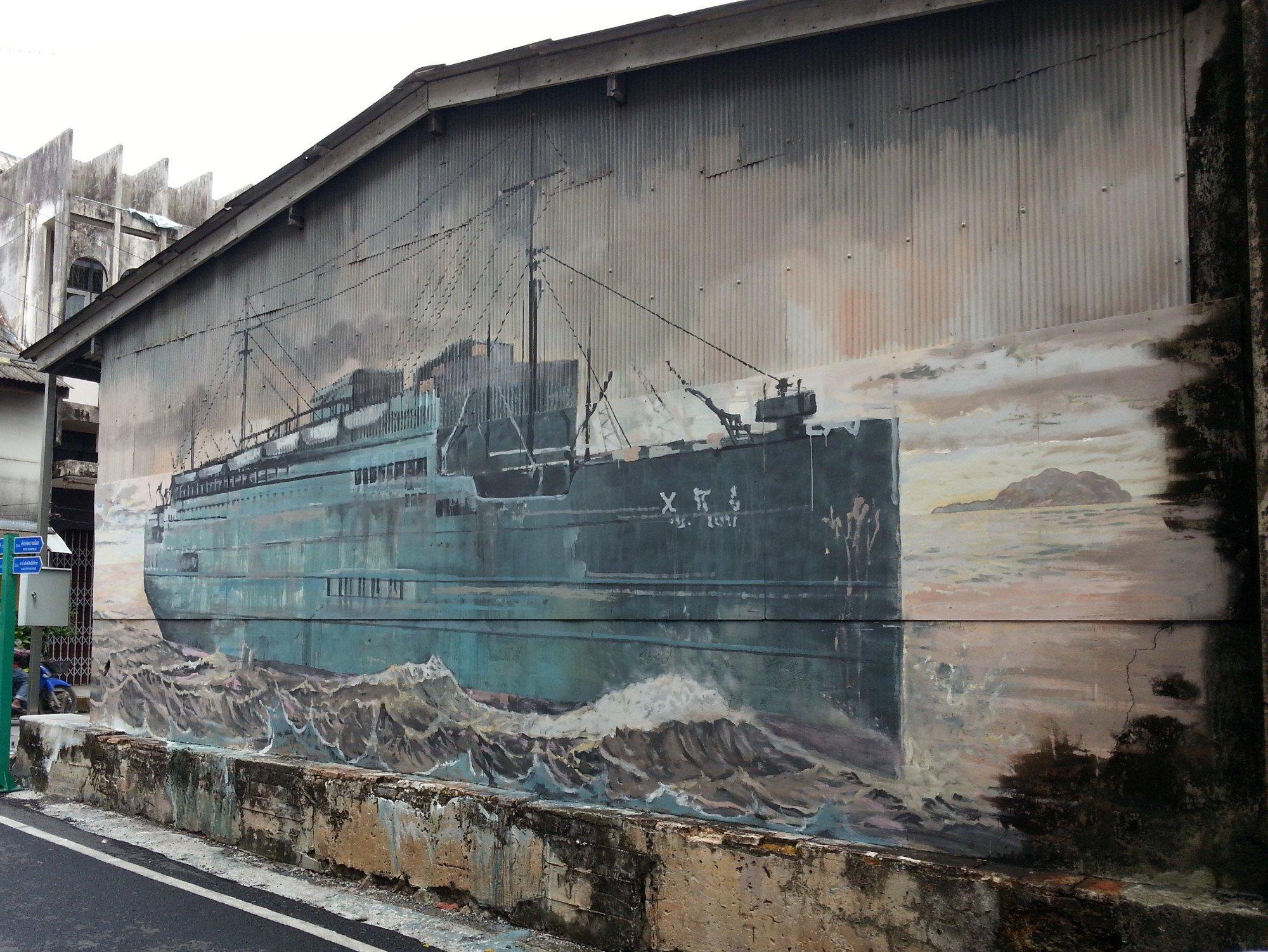 Ship mural in Songkhla