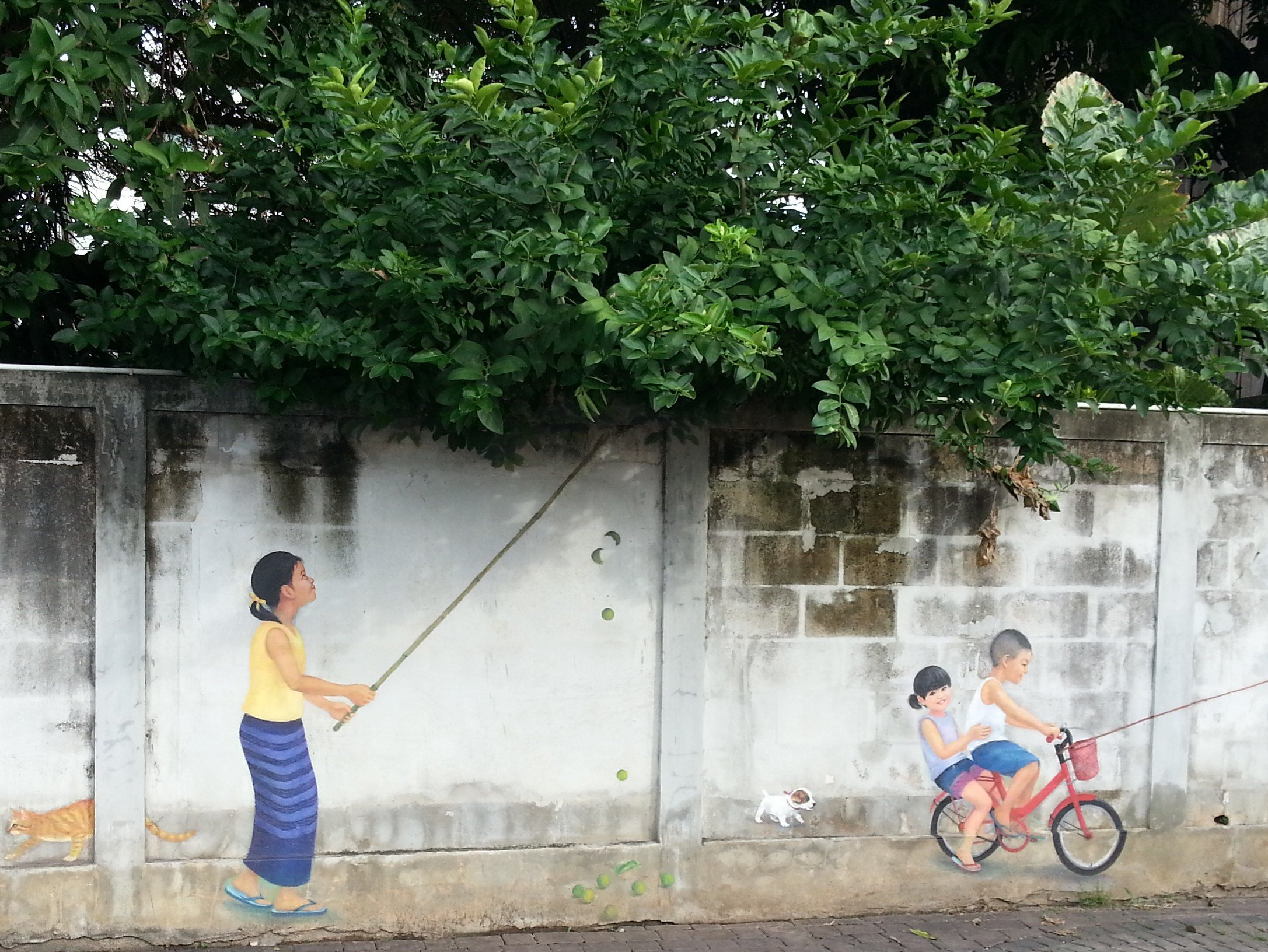 Collecting mangoes mural in Lampang