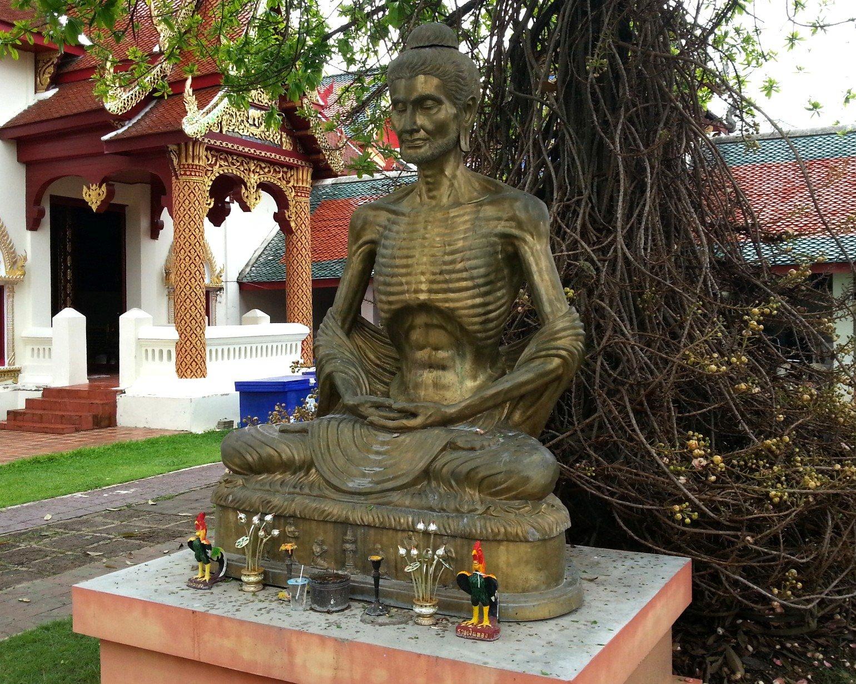 Emaciated Buddha statue at Wat Phra That Hariphunchai