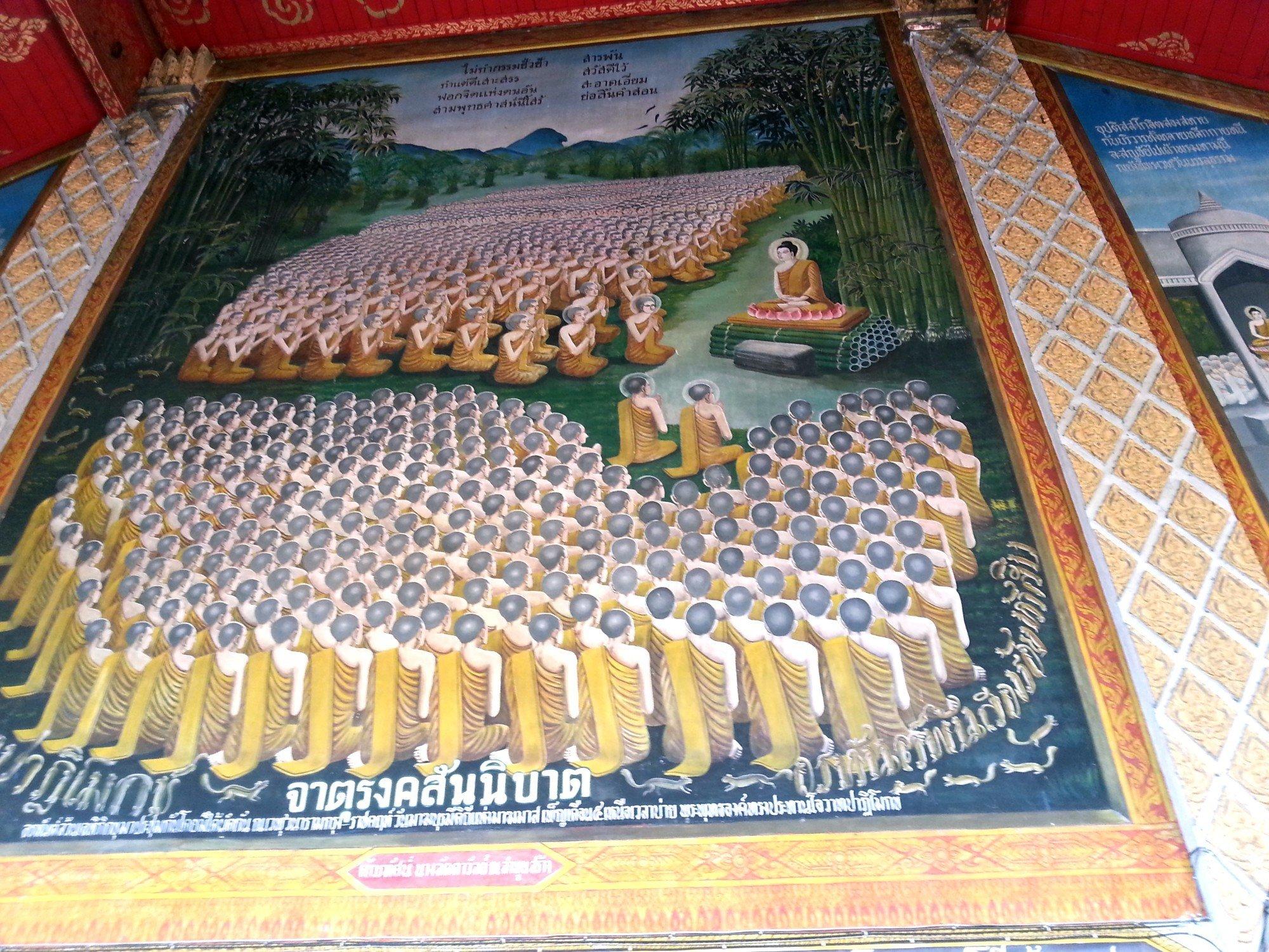 Wall mural of the sermon at Saranath