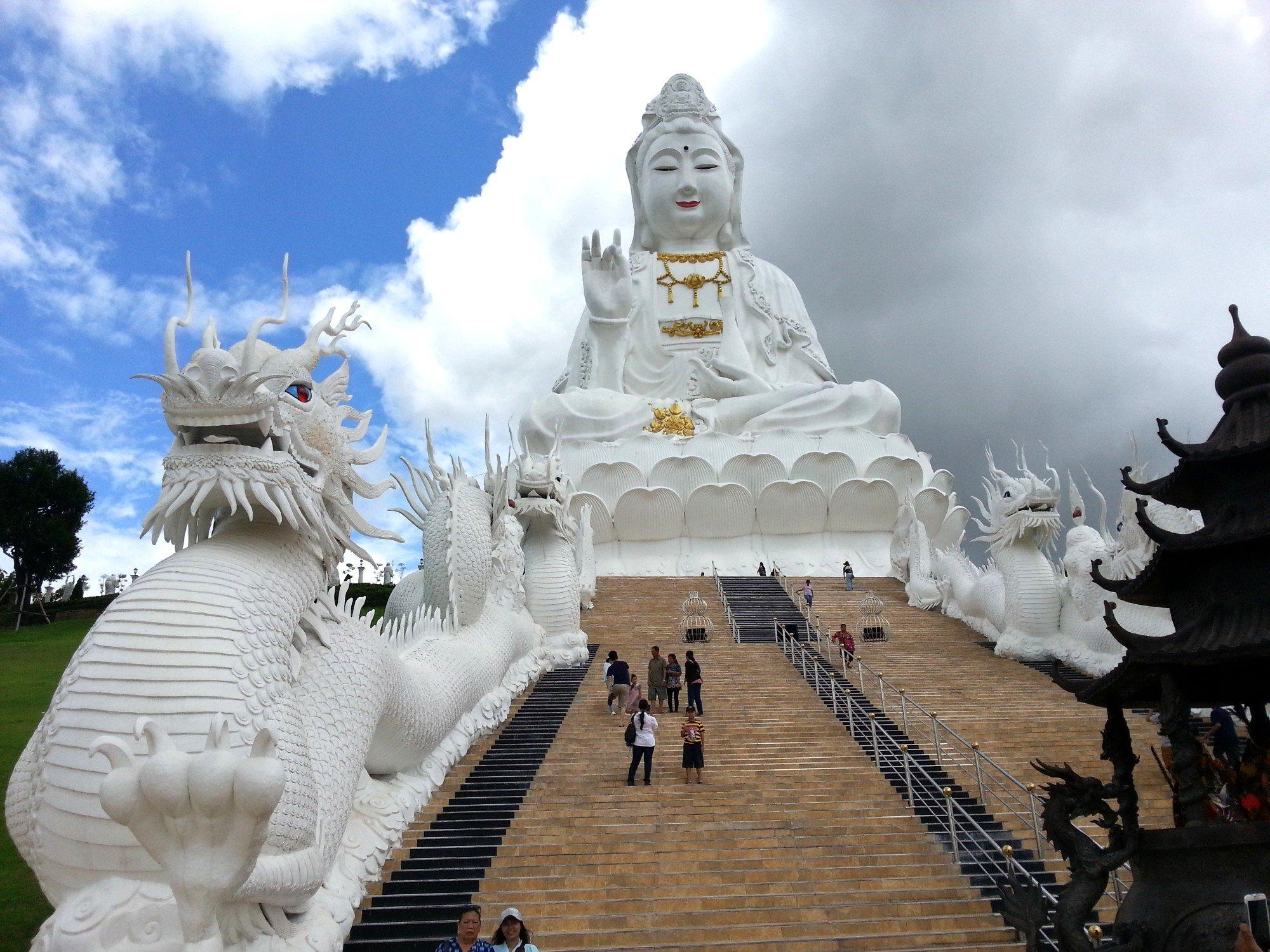 Stairs up to the Guan Yin statue at Wat Huay Pla Kang