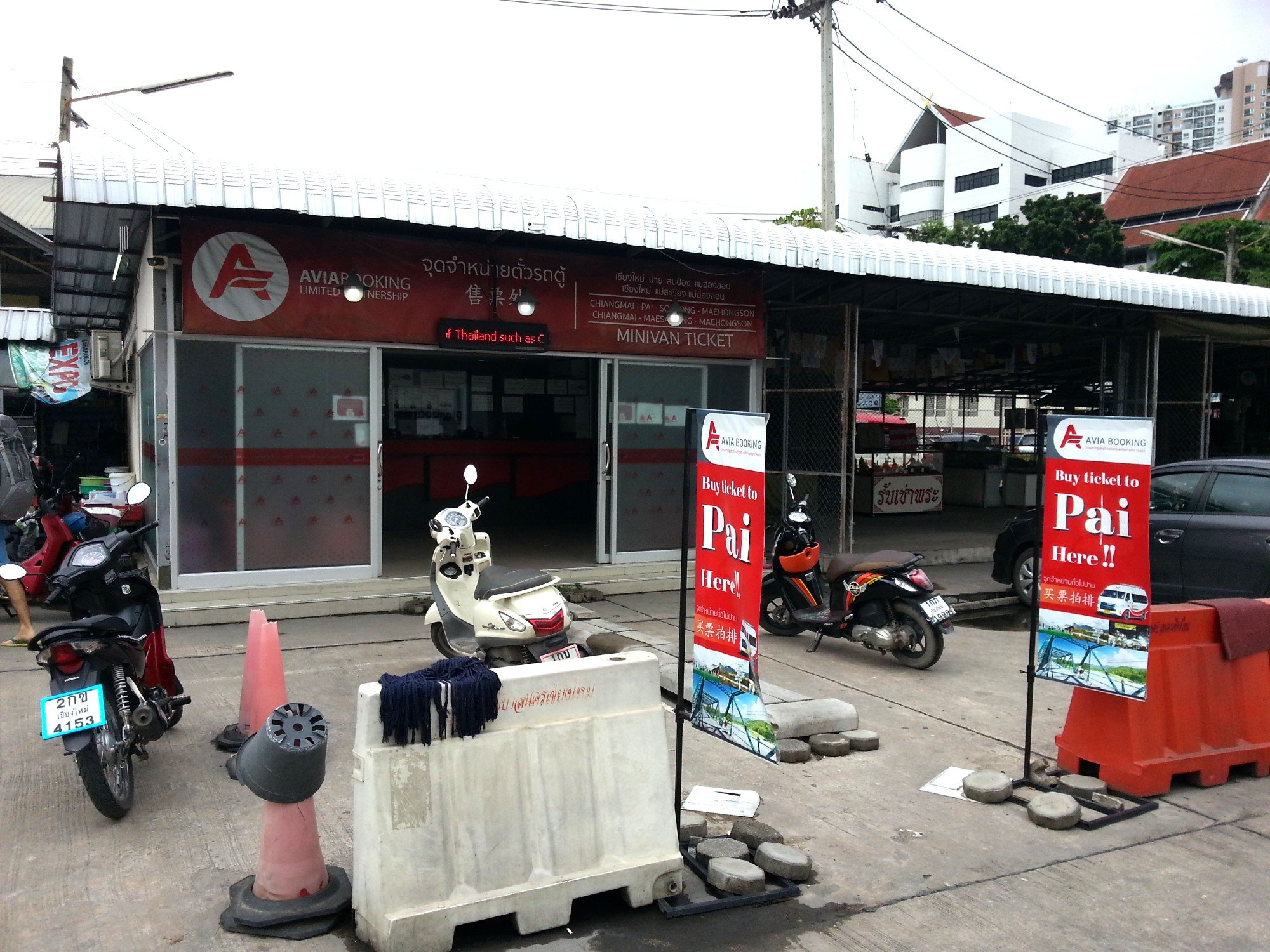 Booking office for travel to Pai at Chiang Mai Bus Terminal 2